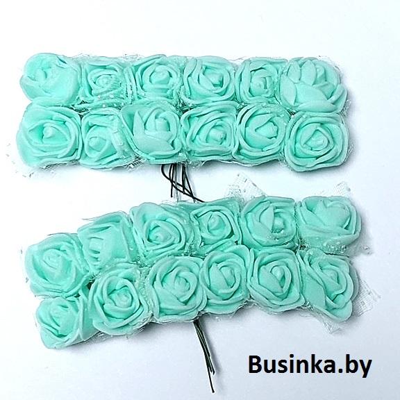 Головки цветов «Розочка» на веточке с сеточкой 20 мм (12 шт), мятный