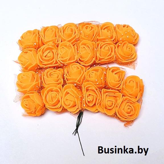 Головки цветов «Розочка» на веточке с сеточкой 20 мм (12 шт), оранжевый