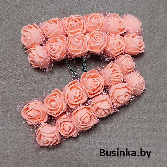 Головки цветов «Розочка» на веточке с сеточкой, персик 20 мм (12 шт)