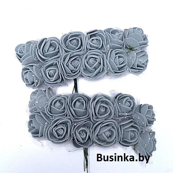 Головки цветов «Розочка» на веточке с сеточкой 20 мм (12 шт), серый