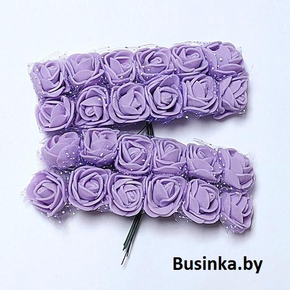 Головки цветов «Розочка» на веточке с сеточкой 20 мм (12 шт), сиреневый
