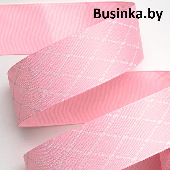 Репсовая лента «Ромбики» 4 см (1 м), розовый