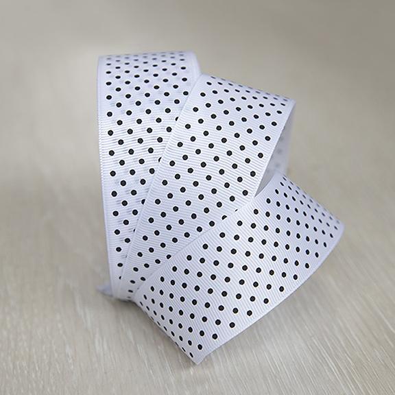 Репсовая лента «Горох» 4 см (1 м), белый