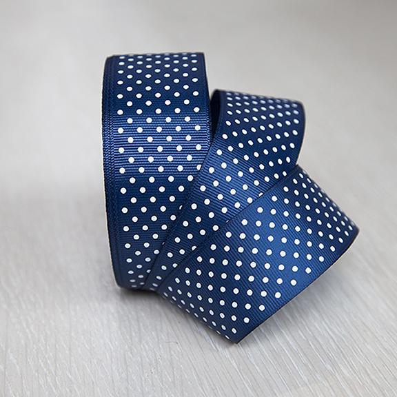 Репсовая лента «Горох» 4 см (1 м), синий