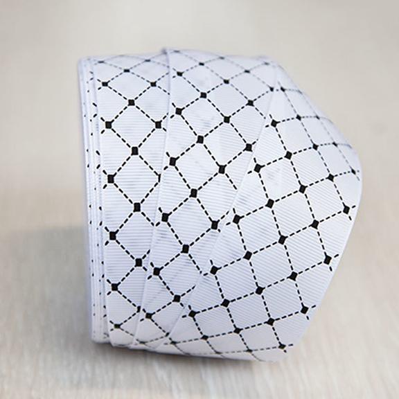 Репсовая лента «Ромбики» 4 см (1 м), белый