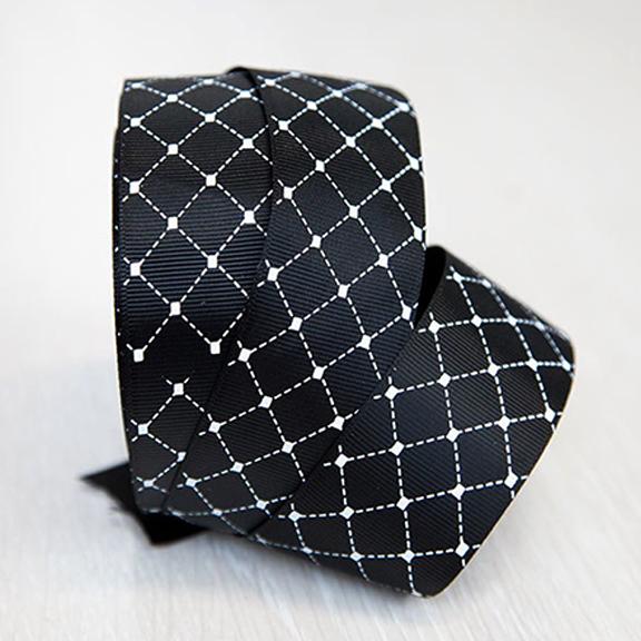 Репсовая лента «Ромбики» 4 см (1 м), чёрный