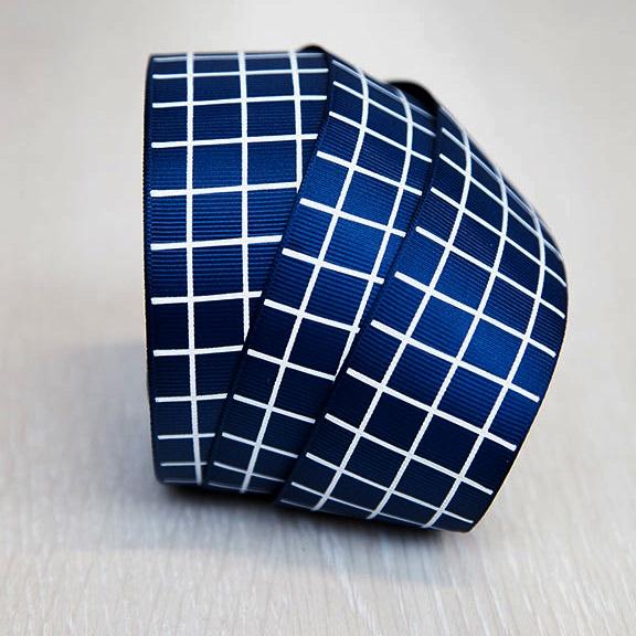 Репсовая лента «В клетку» 4 см (1 м),синий