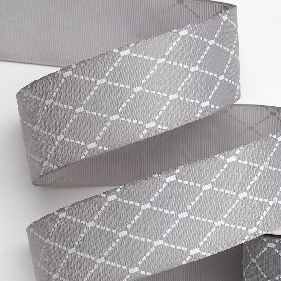 Репсовая лента «Ромбики» 4 см (1 м), серый