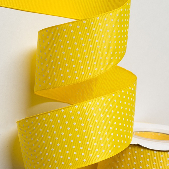 Репсовая лента «Горох» 4 см, жёлтый (1 м)