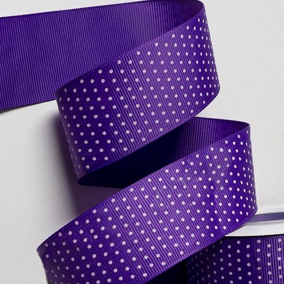 Репсовая лента «Горох» 4 см, тёмно-фиолетовый (1 м)