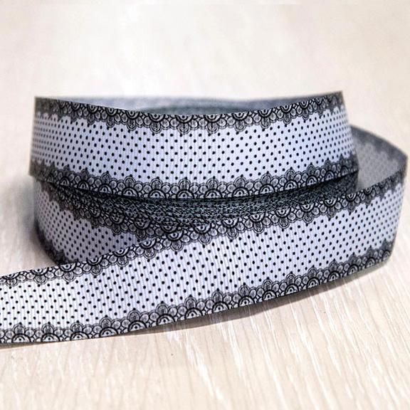 Репсовая лента «Кружево» 2,5 см (1м), белый/чёрный