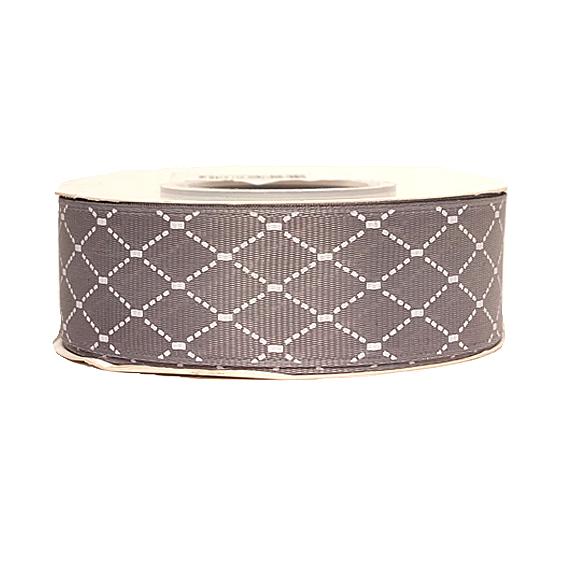 Репсовая лента «Ромбики» 2,5 см (1м), серый