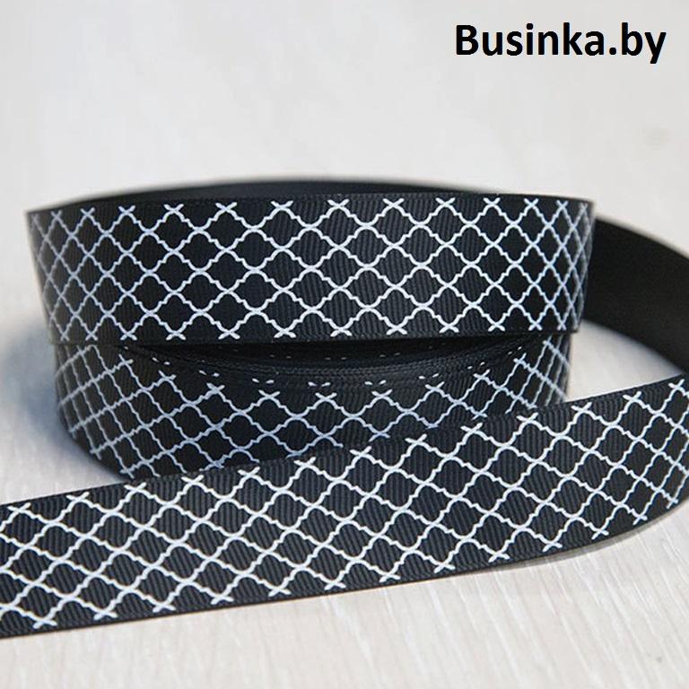 Репсовая лента с рисунком 2,5 см (1м), чёрный