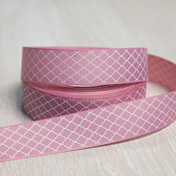 Репсовая лента с рисунком 2,5 см (1м), розовая пенка