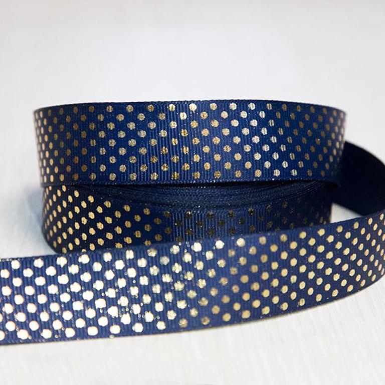 Репсовая лента «Горох» 2.5 см, (1 м), синий/золото