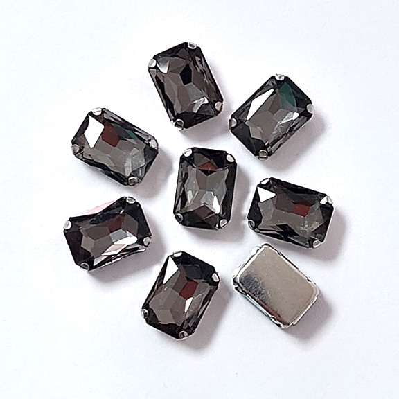Стразы пришивные «Прямоугольник» 14 мм, графитовый (1 шт)
