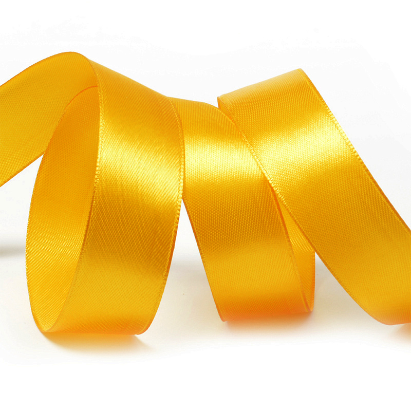 Атласная лента 2.5 см (бабина) тёмно-жёлтый