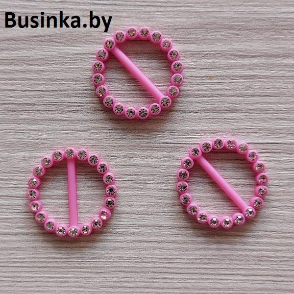 Пряжка декоративная со стразами «Круг», 23 мм (1 шт), розовый
