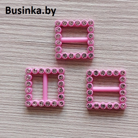 Пряжка декоративная со стразами «Квадрат», 20 мм (1 шт), розовый