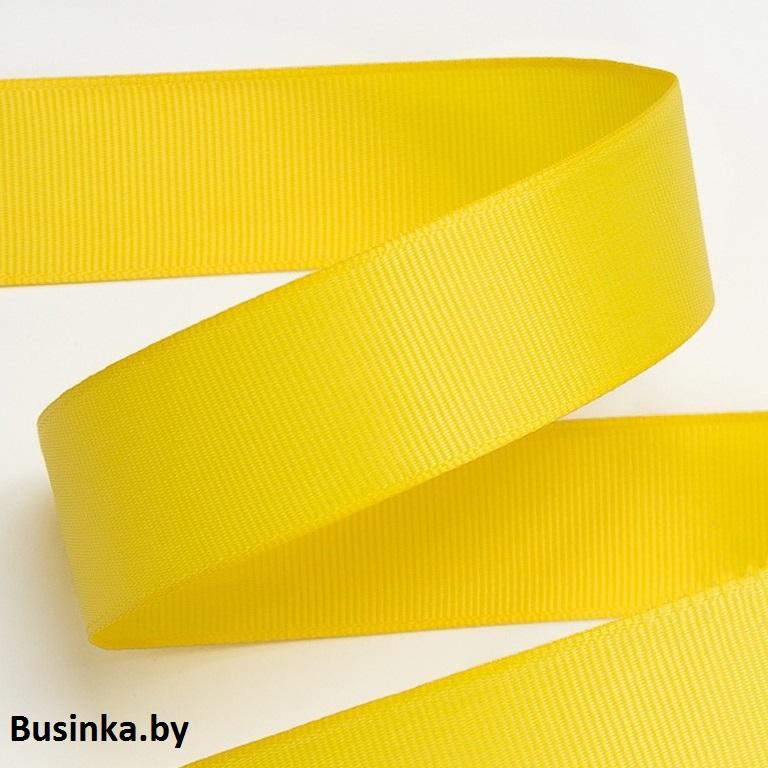 Лента репсовая 2,5 см, жёлтый 19 (бобина)