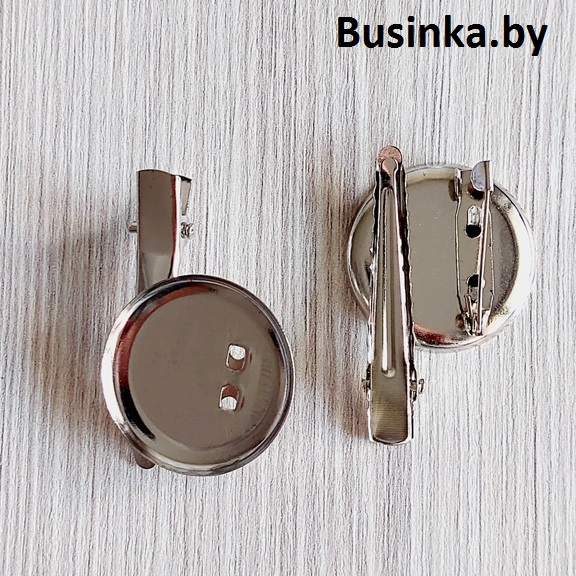 Заколка (35 мм) -платформа (20 мм) с зажимом для броши (1 шт), серебро