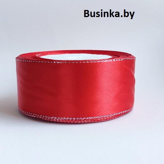 Атласная лента 4 см с люрексом (1 метр), красный/серебро