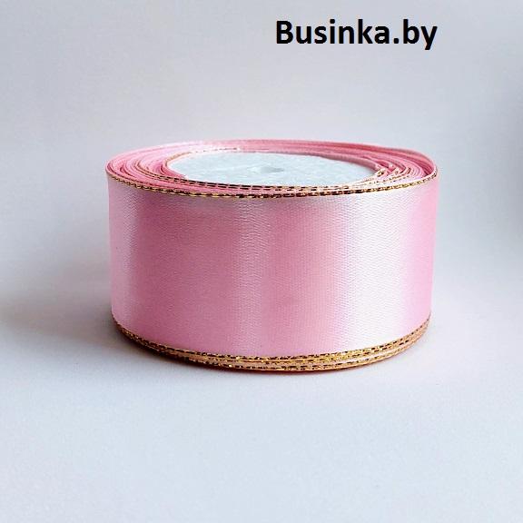 Атласная лента 4 см с люрексом (1 метр), розовый/золото