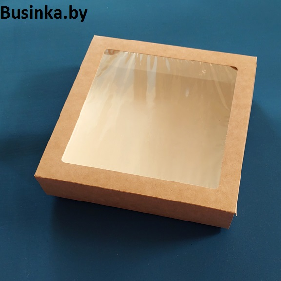 Коробка крафтовая с окошком 20x20x4 см 1500 мл (4 шт)