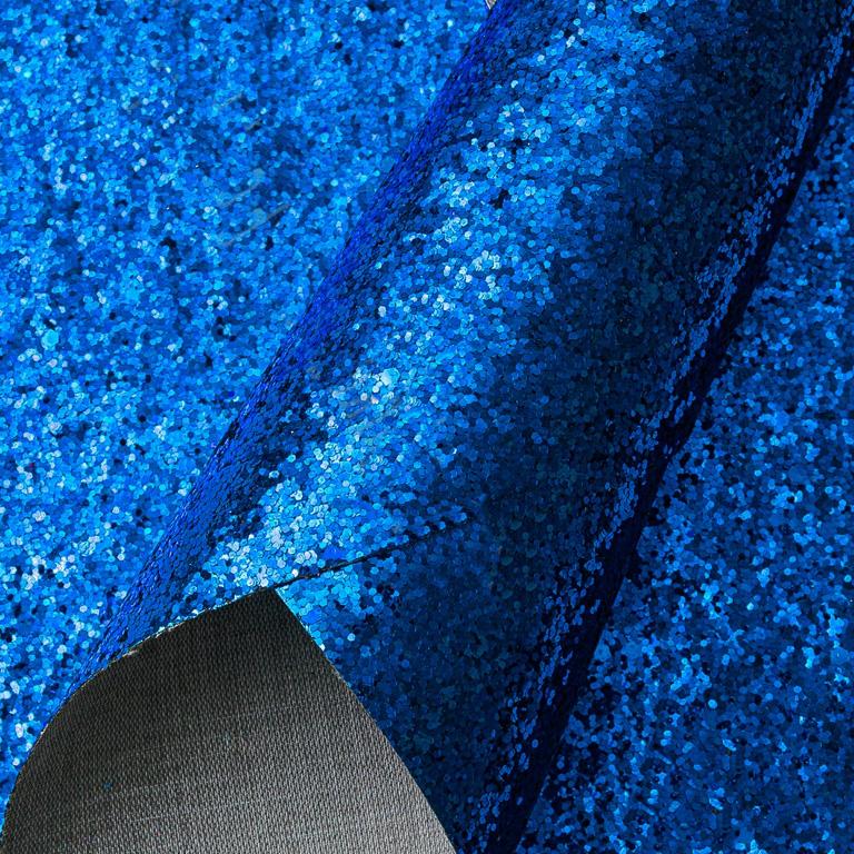 Кожзам с крупными блёстками 20*30 см, синий (1 шт)