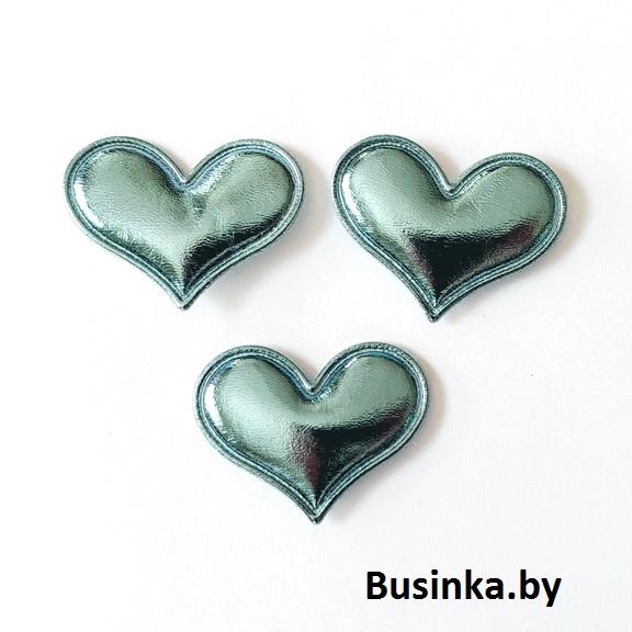 Патч 3D глянец «Сердце» 3*3,6 см, голубой
