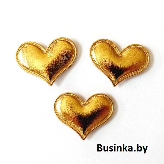 Патч 3D глянец «Сердце» 3*3,6 см, золото