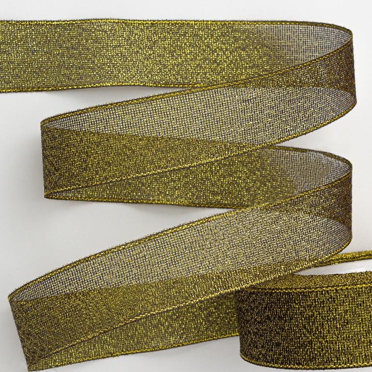 Лента парча 2,5 см (металлизированная) (1 метр), чёрный/золото