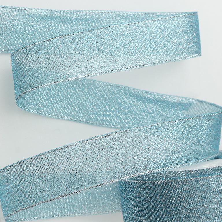 Лента парча 4 см (металлизированная) (1 метр), голубой