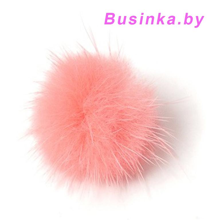 Помпоны меховые 3 см (1 шт), розовый персиковый