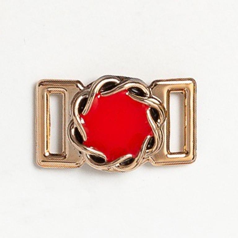 Пряжка декоративная 25*18 мм (1 шт), золото/красный