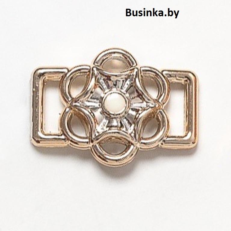 Пряжка декоративная 25*18 мм (1 шт), золото/белый