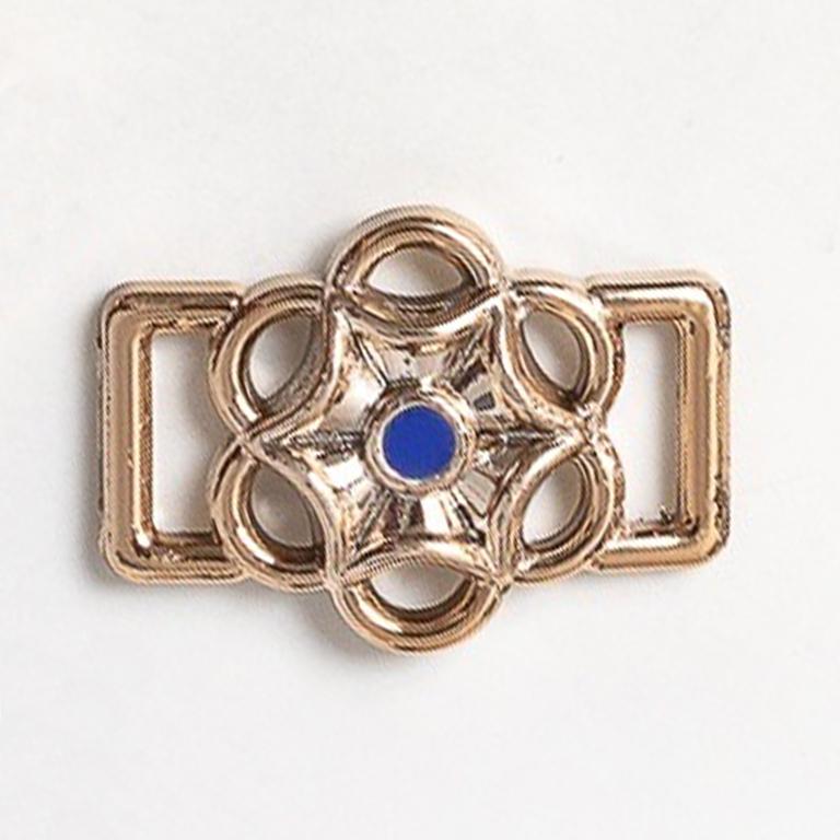 Пряжка декоративная 25*18 мм (1 шт), золото/синий