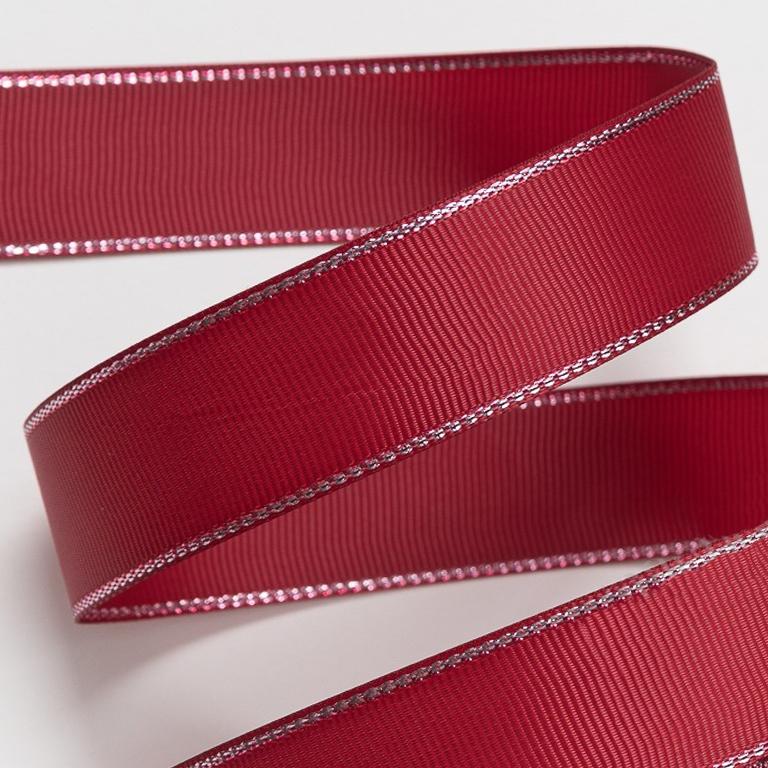 Репсовая лента с люрексом 1 см (1 метр), бордовый/серебро