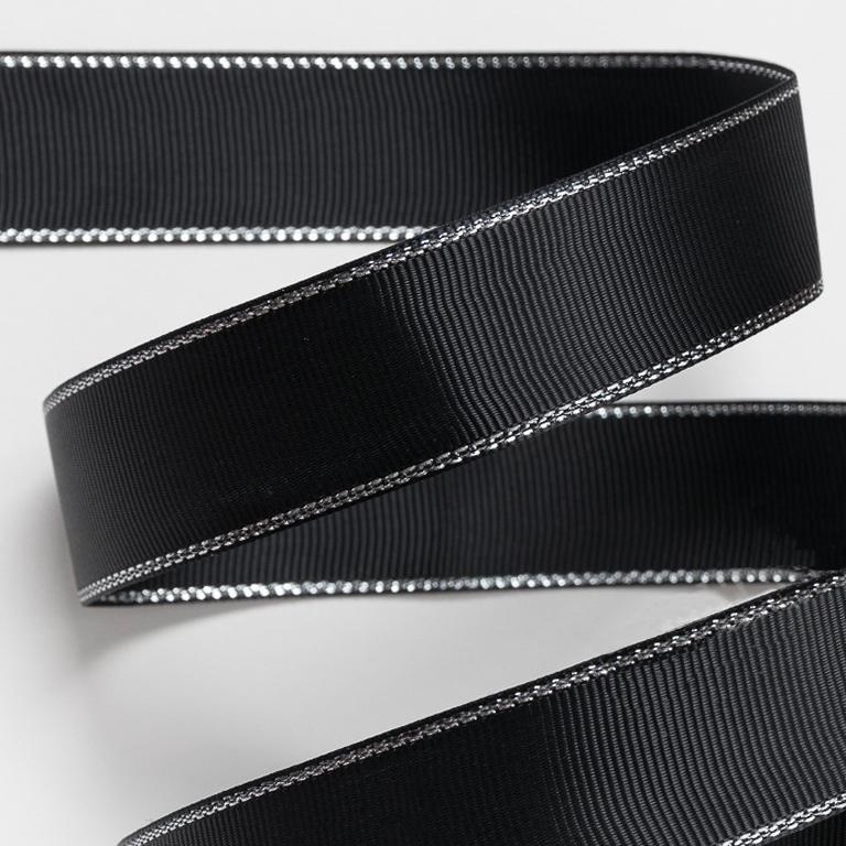 Репсовая лента с люрексом 1 см (1 метр), чёрный/серебро