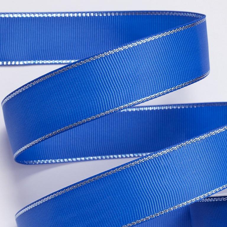 Репсовая лента с люрексом 1 см (1 метр), синий/серебро