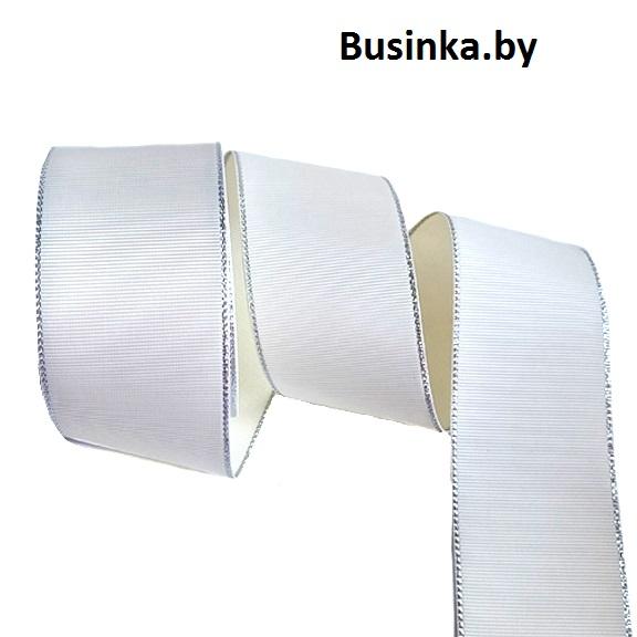 Репсовая лента с люрексом 5 см, айвори/серебро (1 метр)