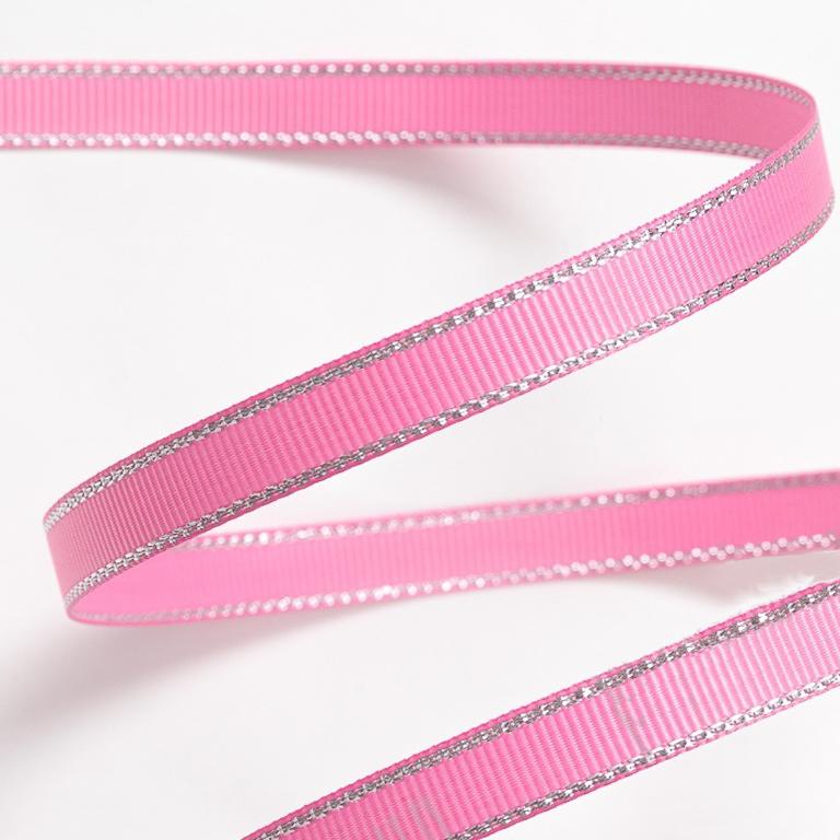 Репсовая лента с люрексом 1 см (1 метр), розовый 05/серебро