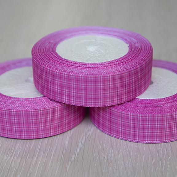 Репсовая лента «Клетка» 2,5 см (1м), розовый