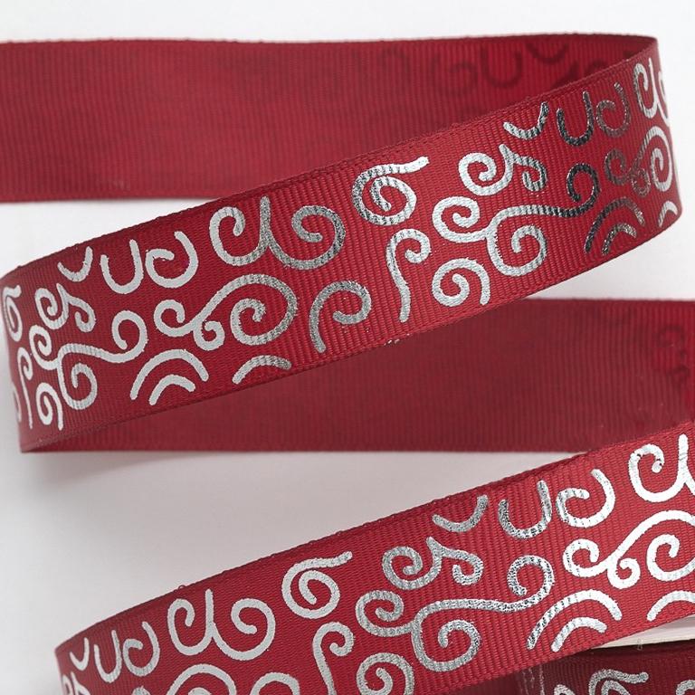 Репсовая лента «Завитушки» 2,5 см (1м), бордовый/серебро