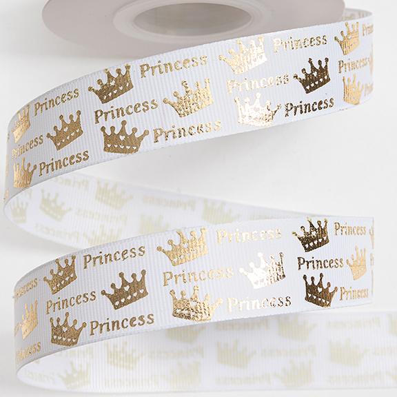 Репсовая лента «Princess» 2,5 см (1м), белый/золото