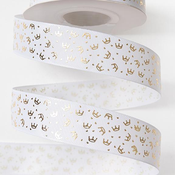 Репсовая лента «Короны» 2,5 см (1м), белый/золото