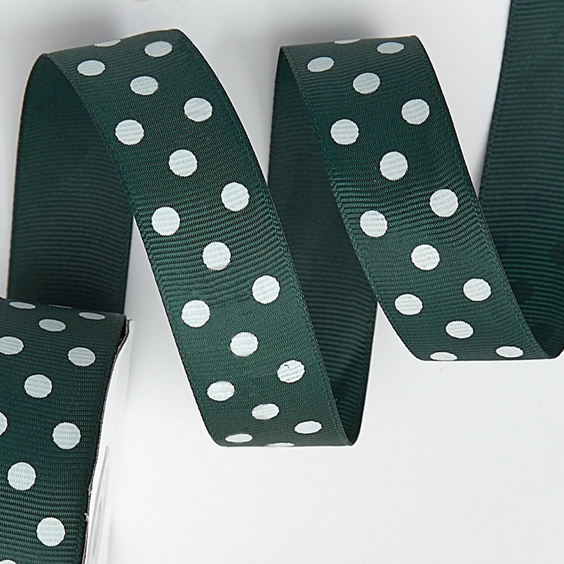 Репсовая лента «Горох» 2.5 см, тёмно-зелёный