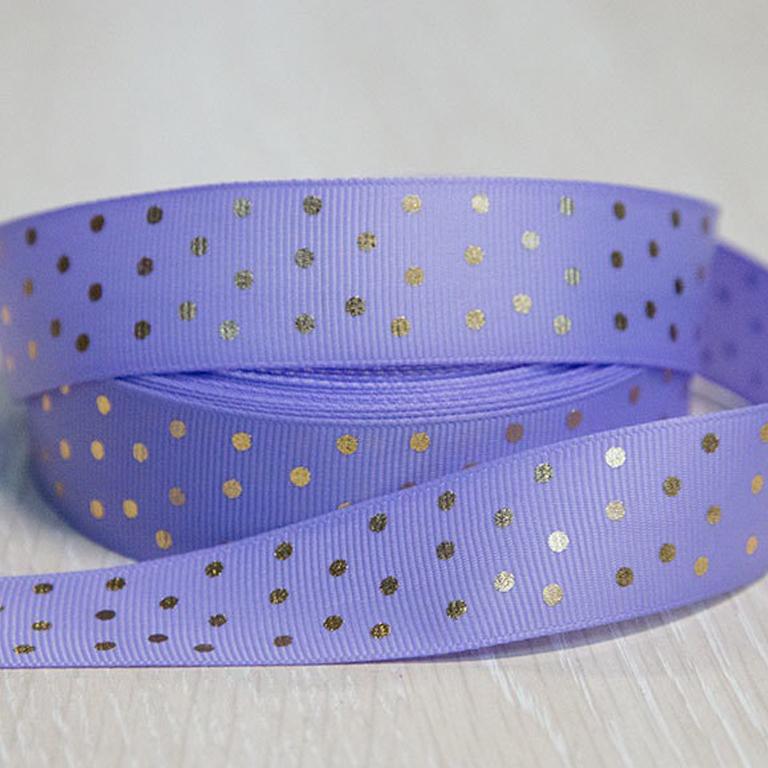 Репсовая лента «Горох» 2.5 см, (1 м), фиолетовый/золото