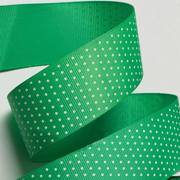 Репсовая лента «Горох» 4 см, зелёный (1 м)