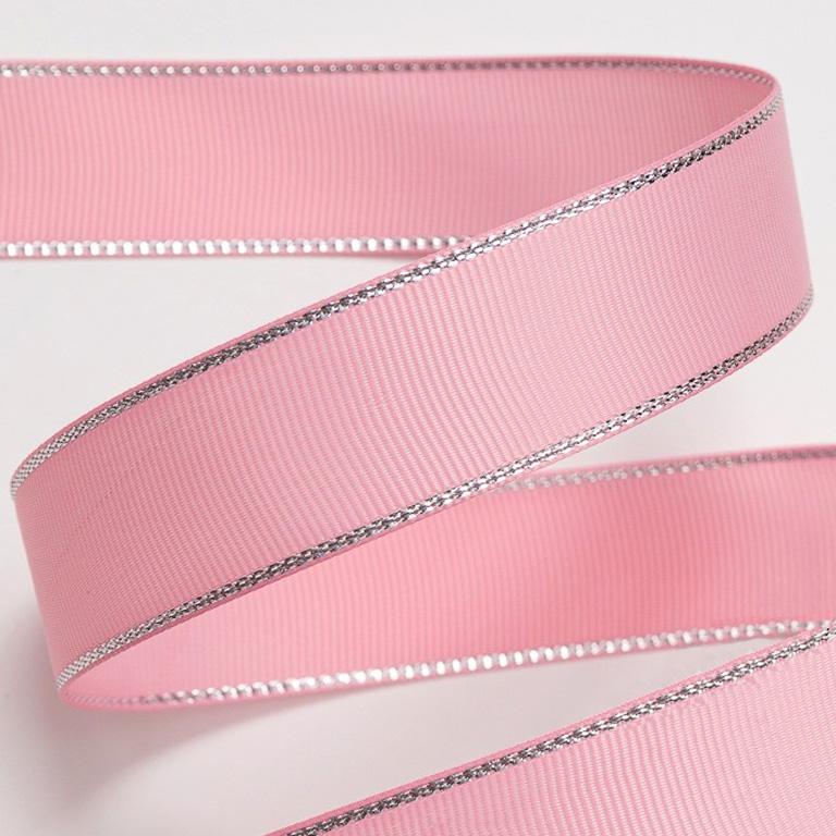 Репсовая лента с люрексом 1 см (1 метр), розовый 2/серебро